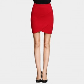 SSXR Irregularly Cut Body Con Red Skirt (5273)