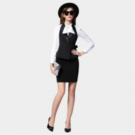 SSXR Ribbon Shirt And Vest With Skirt Black Set (7058)