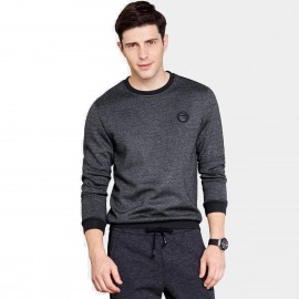 Qzhihe Casual Badge Charcoal Sweater (HMW3279)