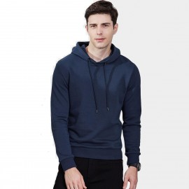 Qzhihe Drawstrings Hooded Navy Sweater (HMW3283)