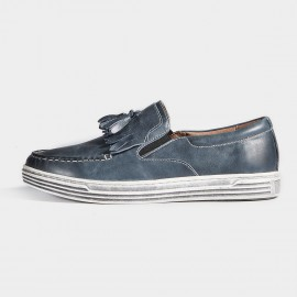 Herilios Boat Style Black And White Soles Apron Toe Grey Blue Loafers (H7105D99)