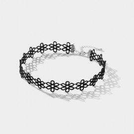 Caromay Flower Chain Lace Black Necklace (X1630)