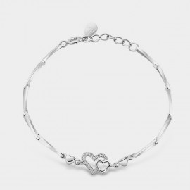 SEVENTY 6 Connect Hearts Silver Bracelet (3858)