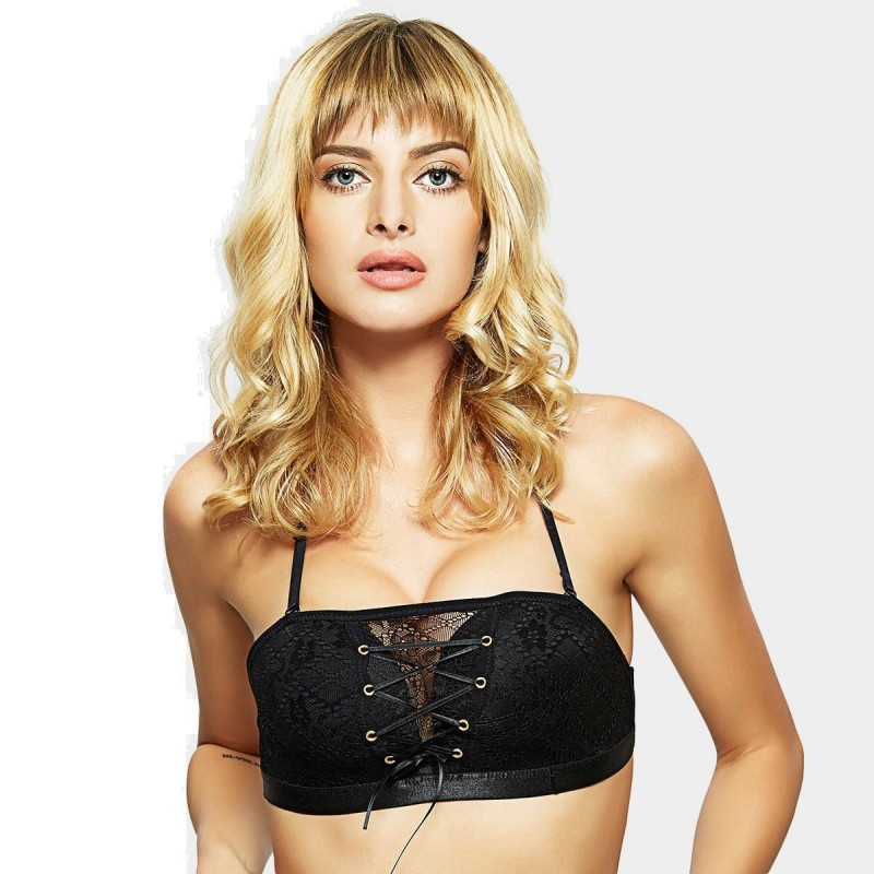 Olanfen Spaghetti Straps Lace Up Lace Bandeau Push Up Black Bra (W6137)