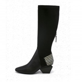 Jady Rose Leather Patchwork Knee Length Slim Fit Diamond Heeled White Boots (17DR10308)
