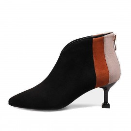 Jady Rose Contrast Highlight Patchwork Suede Stiletto Low Heeled Ankle Black Boots (17DR10316)