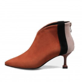 Jady Rose Contrast Highlight Patchwork Suede Stiletto Low Heeled Ankle Brown Boots (17DR10316)