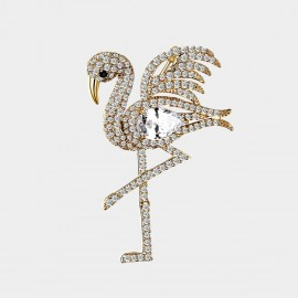 Seventy 6 Flamingos Gold Brooch (5918)