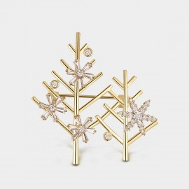 Seventy 6 Christmas Trees Gold Brooch (5958)