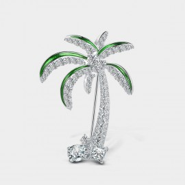 Seventy 6 Coconut Tree Green Brooch (5964)