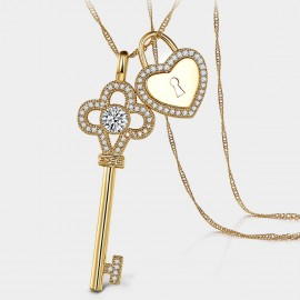 Seventy 6 A Floral Key Lock Gold Long Chain (7296)