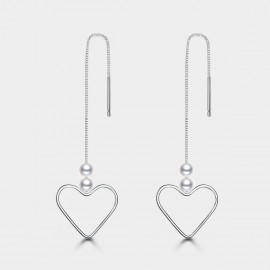 Seventy 6 Open Heart White Earrings (20264)