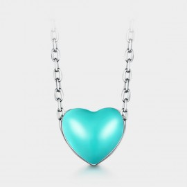Seventy 6 Pubescent Heart Green Necklace (B2454)