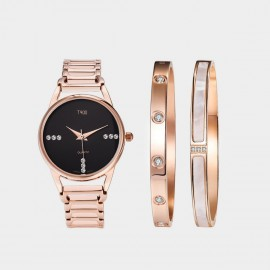 Seventy 6 Love Time Watch & Bracelets Black Set (TB004)