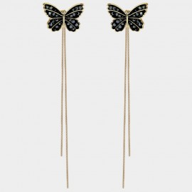 Caromay Elegant Butterfly Tassle Champagne Gold Earrings (E2257)