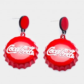 Caromay Coca Cola Bottle Cap Red Earrings (E2670)