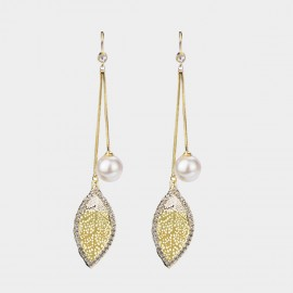 Caromay Flying Leaf Champagne Gold Earrings (E2445)