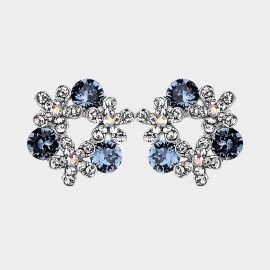 Caromay Crystal Flower Ring Blue Earrings (E2641)