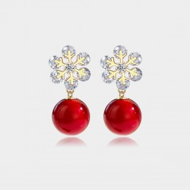 Caromay Snowflake Berry Champagne Gold Earrings (E2752)