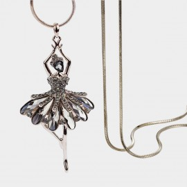 Caromay Crystal Ballerina Gold Long Chain (X1887)