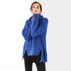 Cocobella Oversized Assymetrical Turtleneck Blue Knit (YN485)