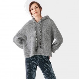 Cocobella Hooded Assymetrical Grey Knit (YN486)