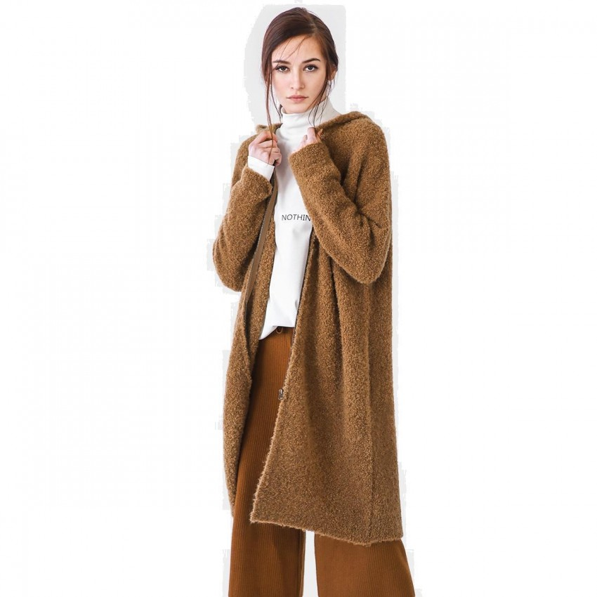 Cocobella Hooded Maxi Camel Knit (YN492)