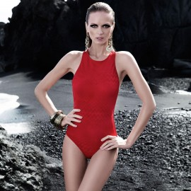 Balneaire Geometric Cut-Out Red One Piece (60591)
