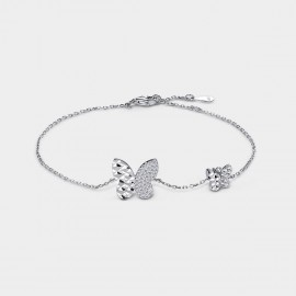 Seventy 6 Light Dance Butterfly Silver Bracelet (3914)