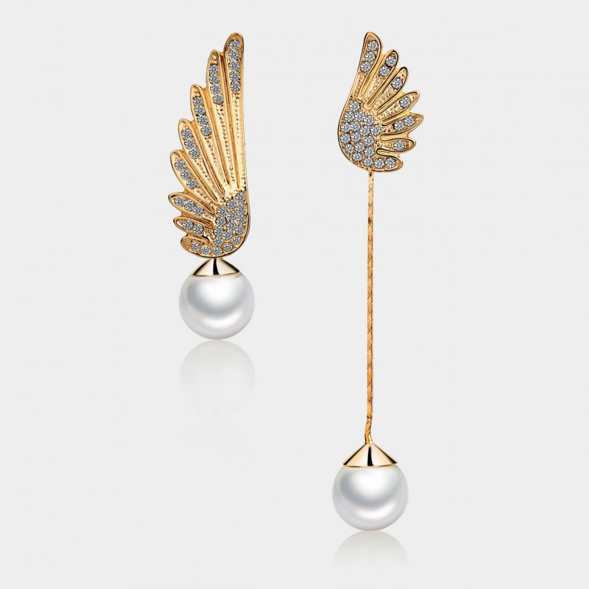 Caromay Uneven Angle Wings Champagne Gold Earrings (E0531)