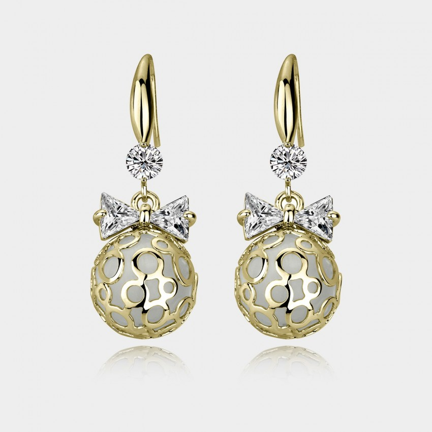 Caromay Shining Ball Champagne Gold Earrings (E0535)