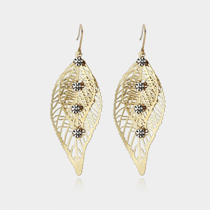 Caromay Leaf Vein Champagne Gold Earrings (E0566)