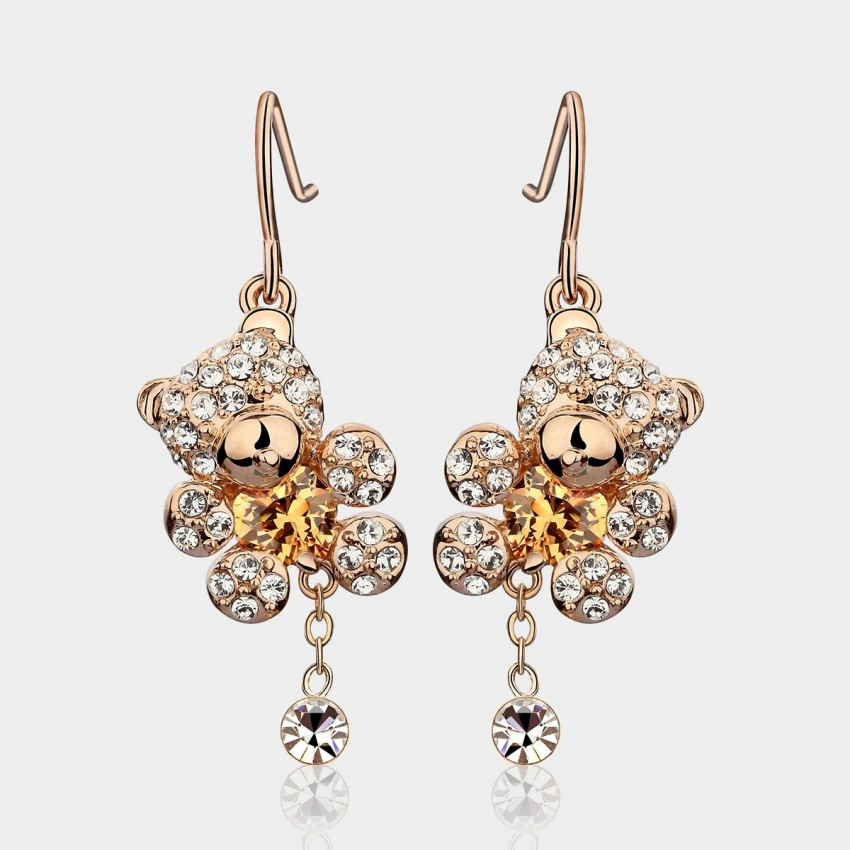 Caromay Cute Bear Champagne Gold Earrings (E1006)
