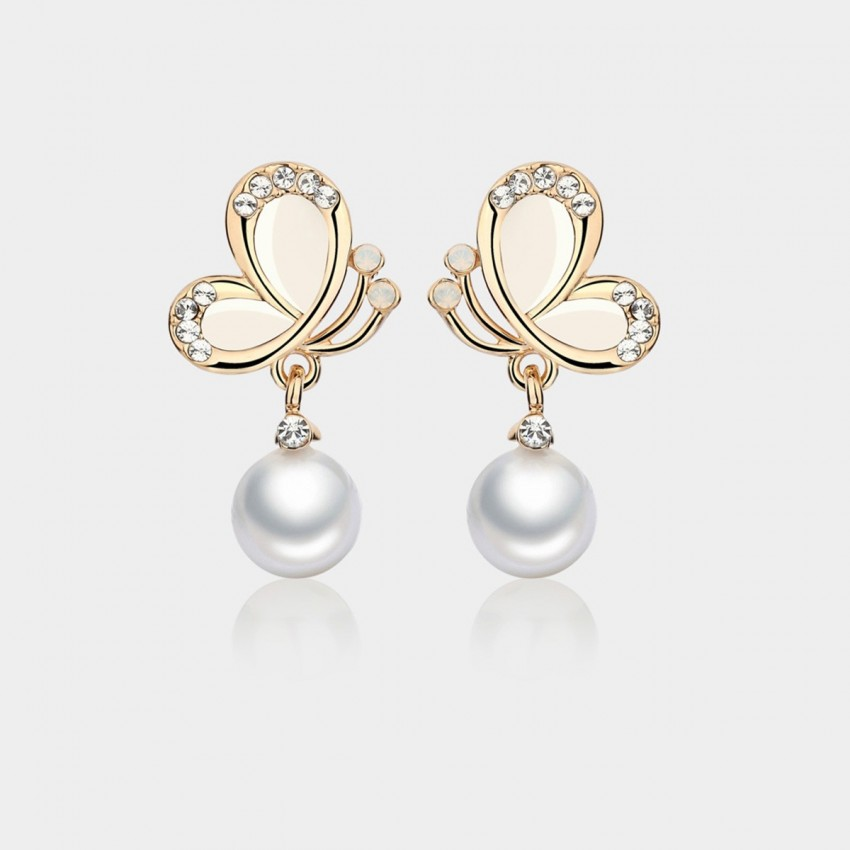 Caromay Butterfly Shadow Pearl White Earrings (E1209)