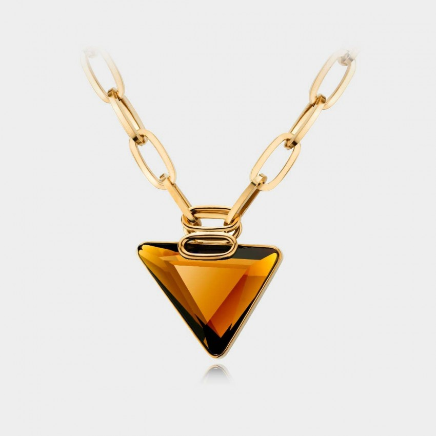 Caromay Classic Triangle Champagne Gold Necklace (X0298)
