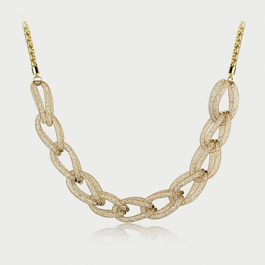 Caromay Luxury Wire Mesh Champagne Gold Necklace (X0441)