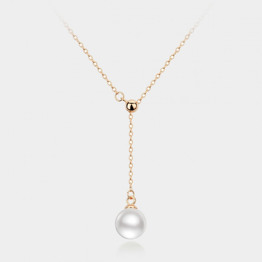 Caromay Adjustable Pearl Drop Rose Gold Necklace (X0449)