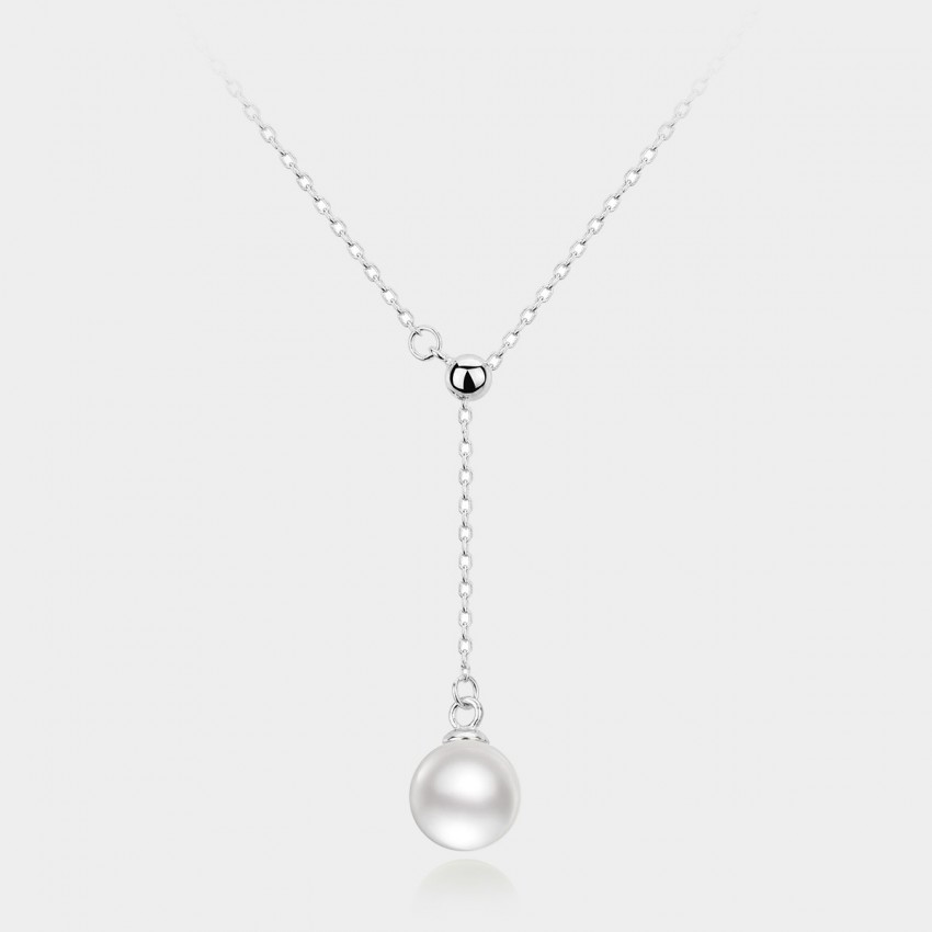 Caromay Adjustable Pearl Drop Silver Necklace (X0449)