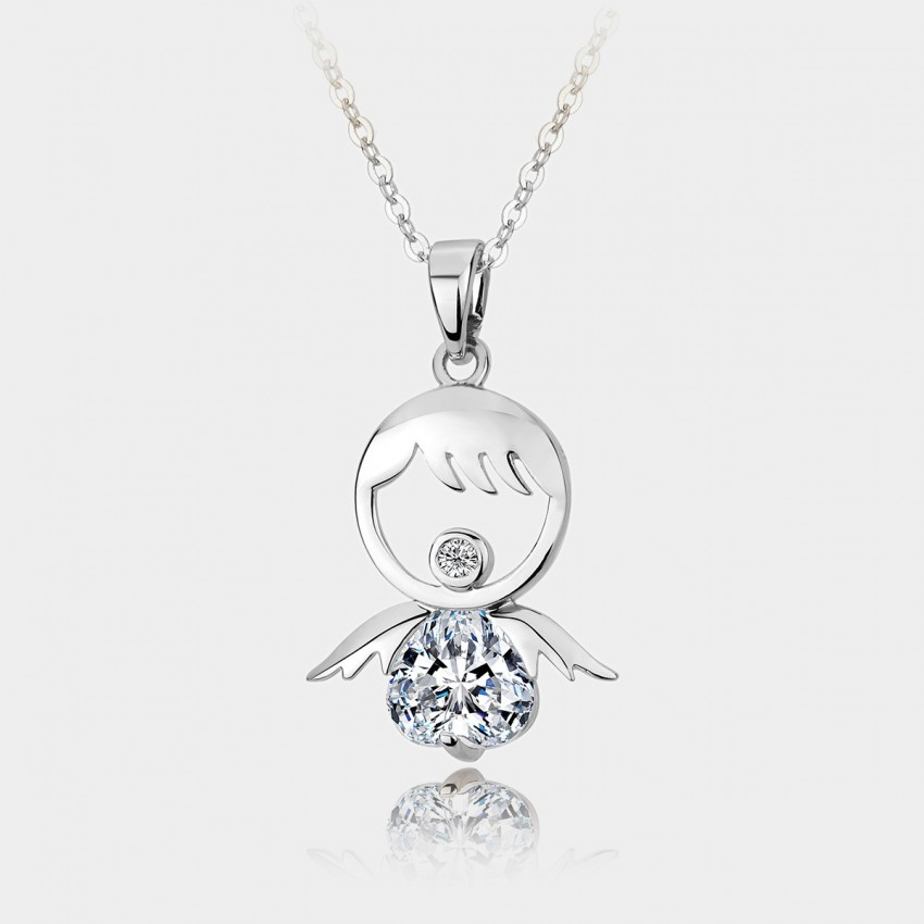 Caromay Angel Girl Silver Necklace (X0551)
