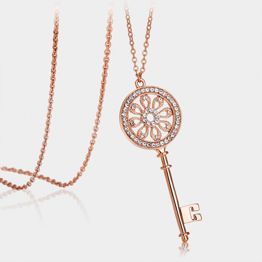 Caromay Love Key Rose Gold Long Chain (X1104)