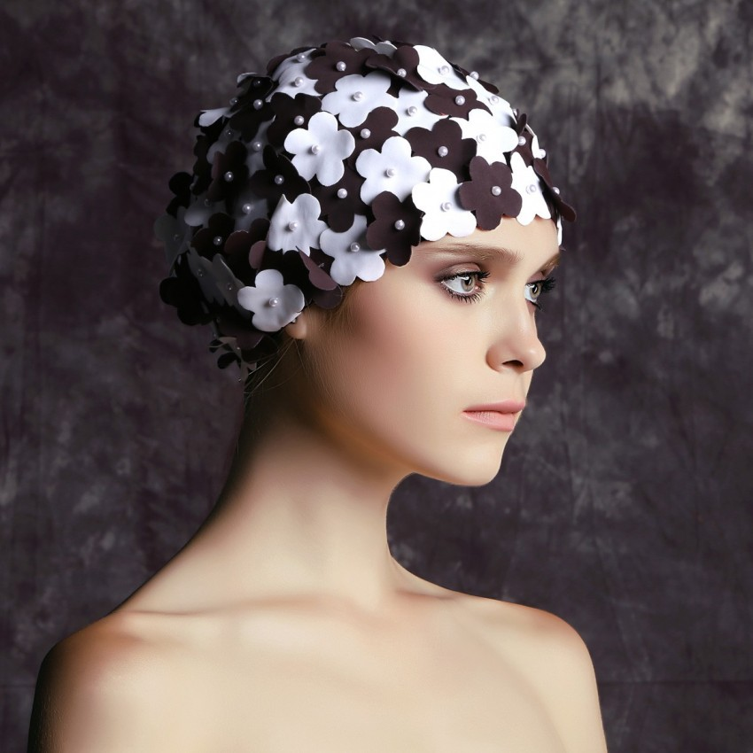 Balneaire Two-Toned 3D Flowers Coffee Swimming Cap (30066)