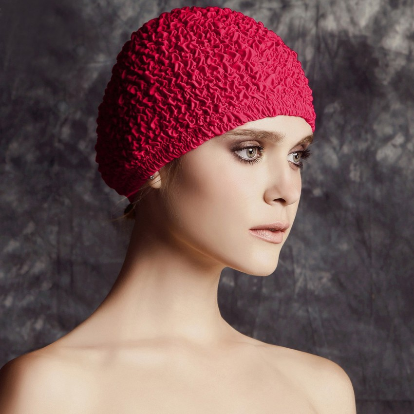 Balneaire Fine Layered Ruffles Red Swimming Cap (30069)