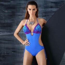 Balneaire Plunged Wrinkled Top Blue One Piece (60496)