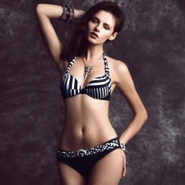 Balneaire Modern Mixed Stripes Black White Bikini (82413)
