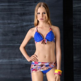 Balneaire Dotted Patterned Convertible Skirted Blue Bikini (82854)