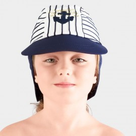 Balneaire Blue Sailor Striped Navy Swimming Cap (230007)