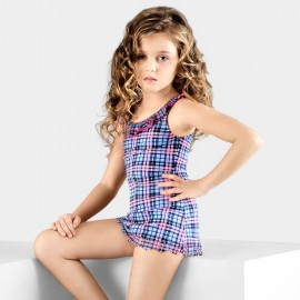 Balneaire Plaid Ruffled Edges Skirted Girl Blue One Piece (260005)