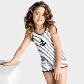 Balneaire Sailor Navy-Striped Girl White Swimdress (260010)