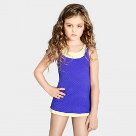 Balneaire Trimmed White Girl Purple Swimdress (260017)