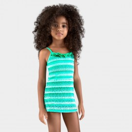 Balneaire Striped Ruffle Girl Green Swimdress (260021)